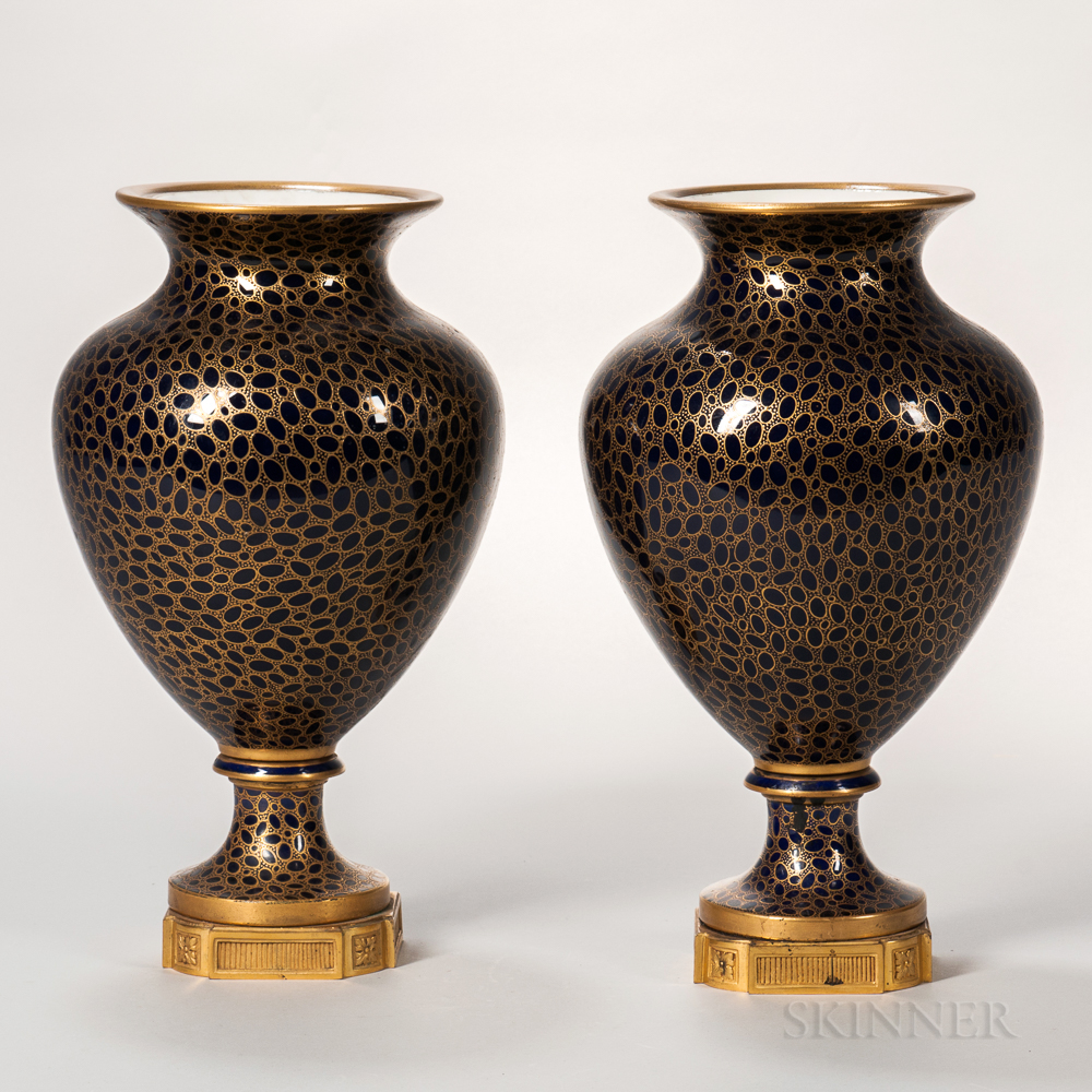 Pair of Sevres-style Cobalt Blue Vases