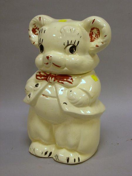 Turnabout Painted Ceramic Bears Cookie Jar.