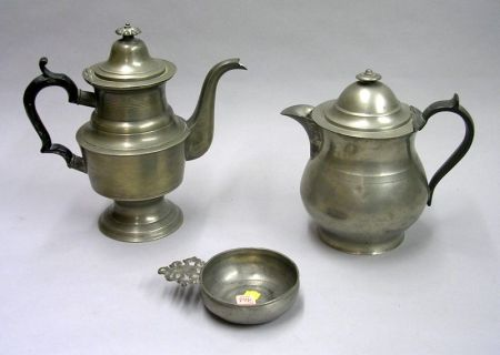 Putnam Pewter Teapot, a Pewter Covered Pitcher, and a T.D. & S.B. Pewter Porringer.