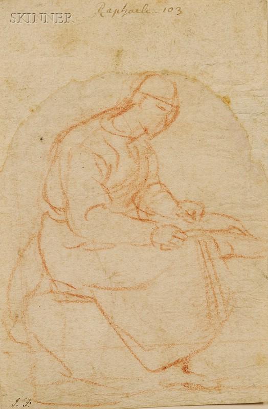 Lot of Two Old Master Drawings:      Manner of Raffaello Sanzio (Italian, 1483-1520), Seated Figure