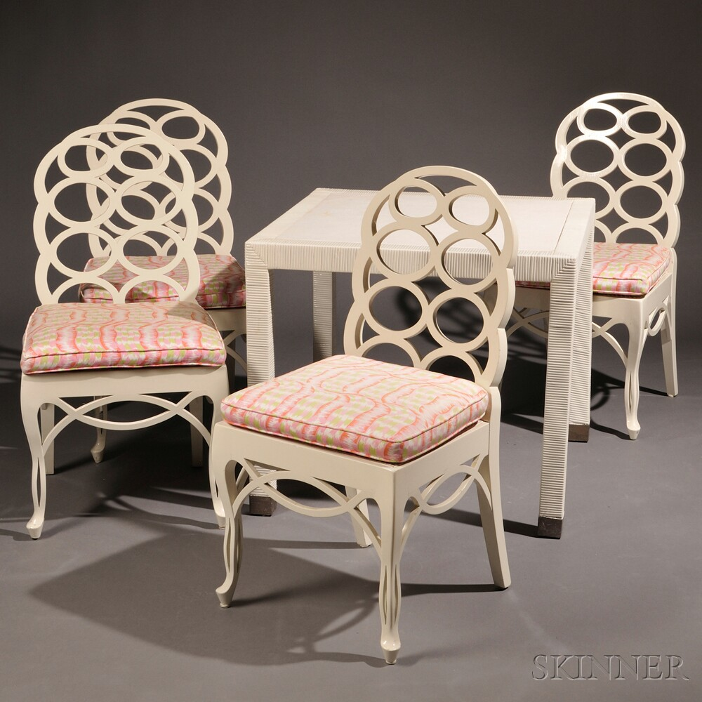 """Four """"Loop"""" Chairs after Frances Elkins (1888-1953) and a Card Table"""