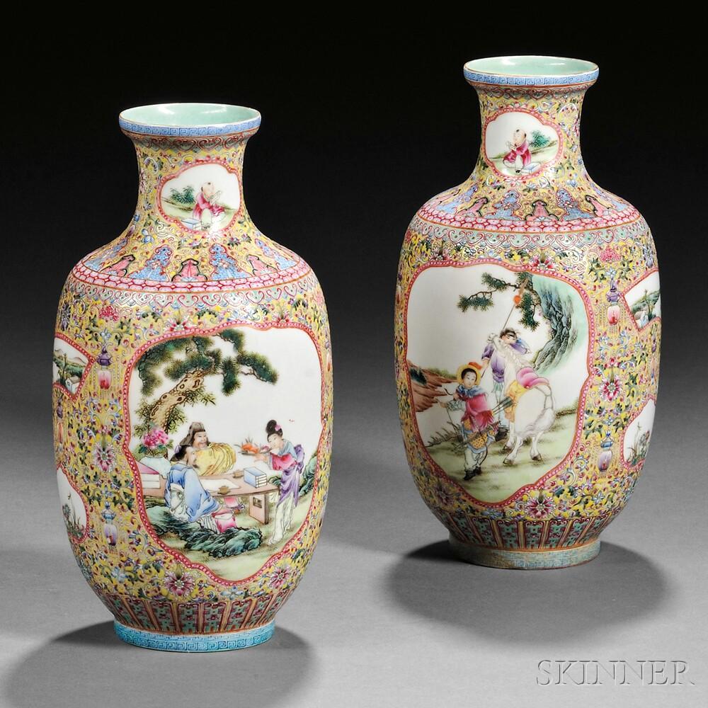 Pair of Famille Jaune Eggshell Porcelain Vases