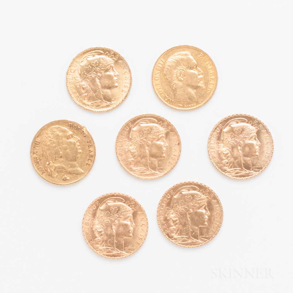 Seven French 20 Francs Gold Coins