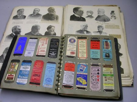 Scrapbook Pertaining to Historical Figures and an Album of Matchbook Covers.