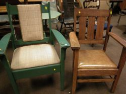 Two Mission Oak Armchairs