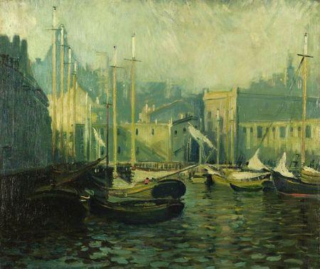 Arthur Clifton Goodwin (American, 1866-1929)  T Wharf, Boston