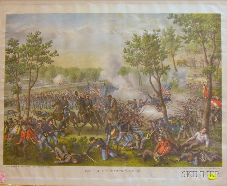 Framed Kurz and Allison Color Lithograph Battle of   Champion-Hills