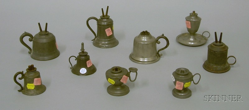 Nine Assorted Pewter Hand Lamps