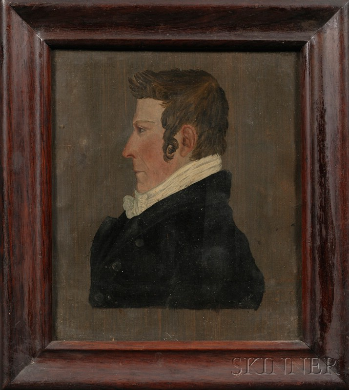 American School, 19th Century      Portrait of a Gentleman in Profile.