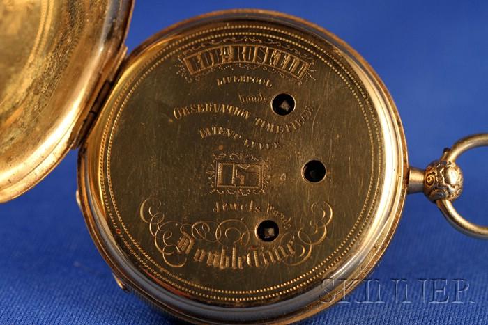 18kt Gold Swiss Traveler's Watch Signed Robert Roskell