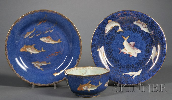 Three Wedgwood Powder Blue Fish Lustre Decorated Items