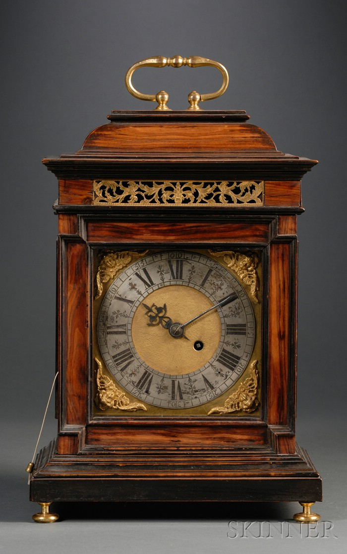 Italian Baroque Fruitwood Mantel Clock Attributed to Abraham Chavane