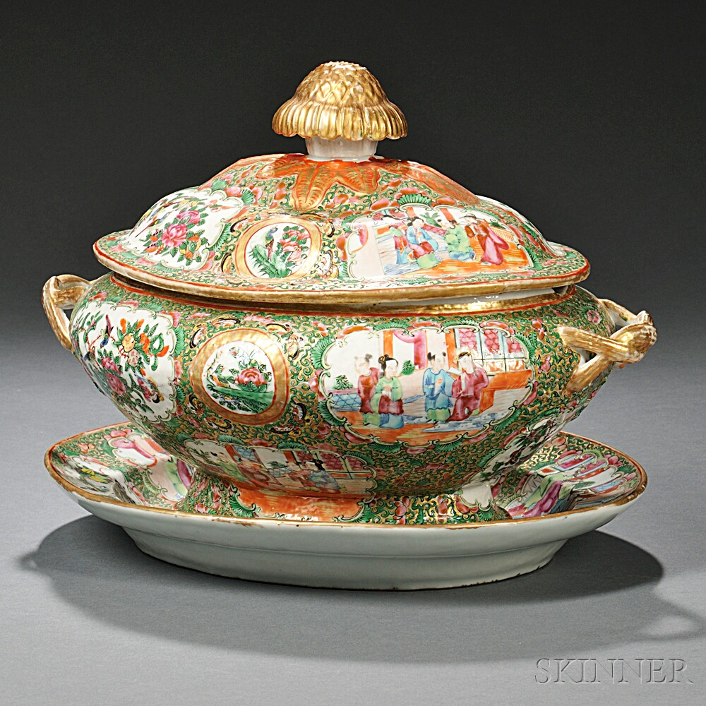 Chinese Export Porcelain Rose Medallion Soup Tureen And