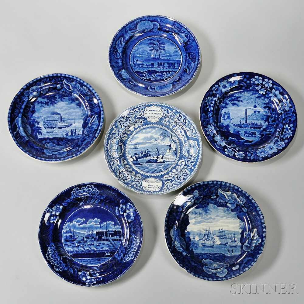 Six Historical Staffordshire Blue and White Transfer-decorated Plates