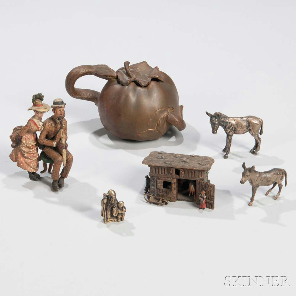Four Continental Bronze Figures and an Inkwell