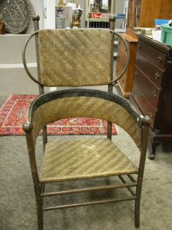 Saratoga Springs Rustic Woven Splint Armchair.