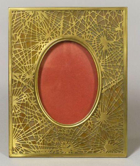 Tiffany Studios Gilt Bronze and Caramel Slag Glass Pine Needle Pattern Table Frame.