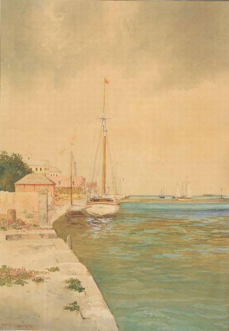 Hartwell Leon Woodcock (American, 1853-1929)    The Peaceful Harbor