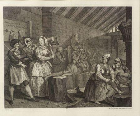William Hogarth (British, 1697-1764)    Lot of Six Plates of THE HARLOT'S PROGRESS
