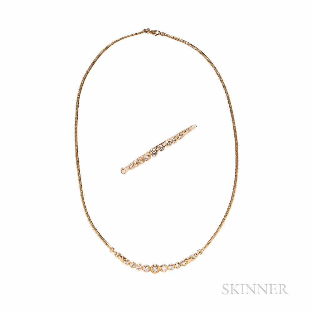14kt Gold and Diamond Necklace and Bracelet