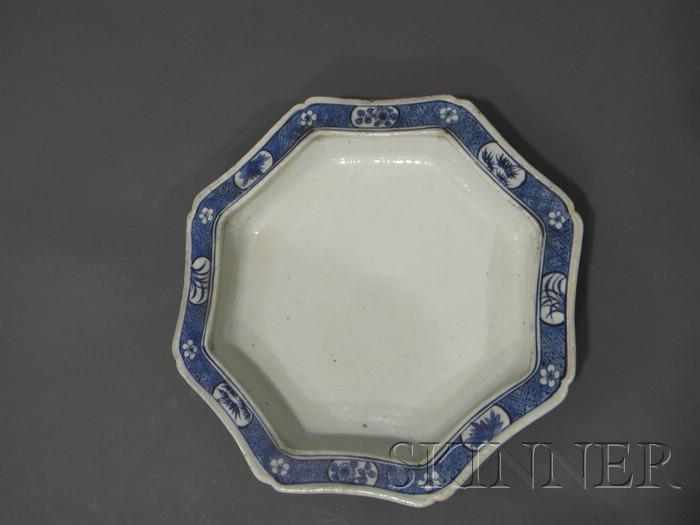 Octagonal Blue and White Platter