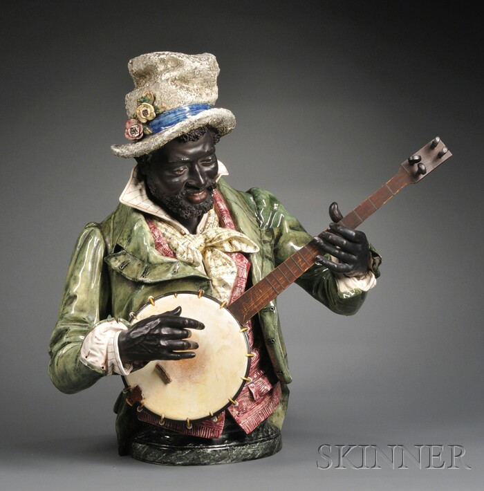 Majolica Figure of a Black Banjo Player