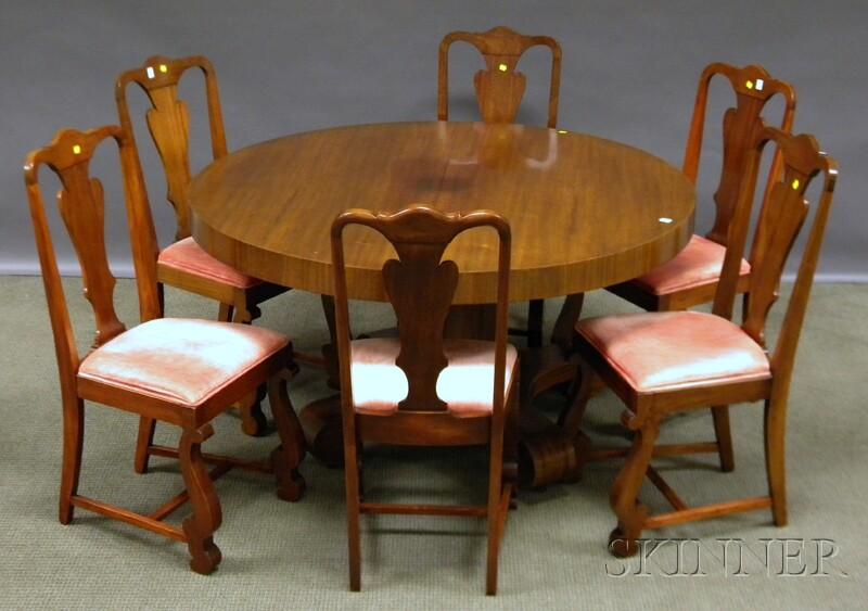Nine-piece Empire-style Mahogany and Mahogany Veneer Dining Room Set