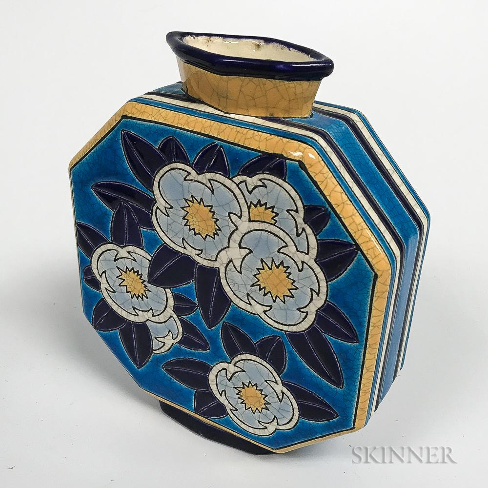 Longwy Glazed Pottery Cushion-form Vase