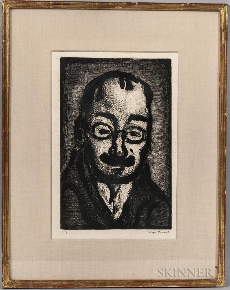 Georges Rouault (French, 1871-1958)      Homme à la Moustache et aux Lunettes