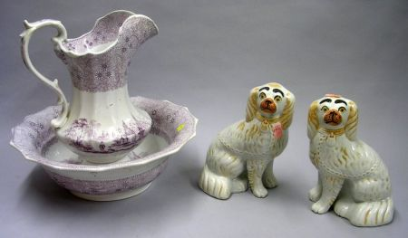 Pair of Staffordshire King Charles Spaniels and a W. & C. Magenta and White Mesina Pattern Chamber Basin and Pitcher.