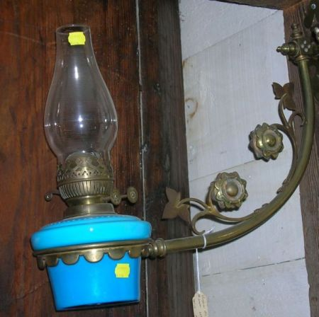 Victorian Aesthetic Brass and Blue Opaline Glass Kerosene Wall Lamp