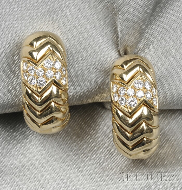18kt Gold and Diamond Earclips, Bulgari