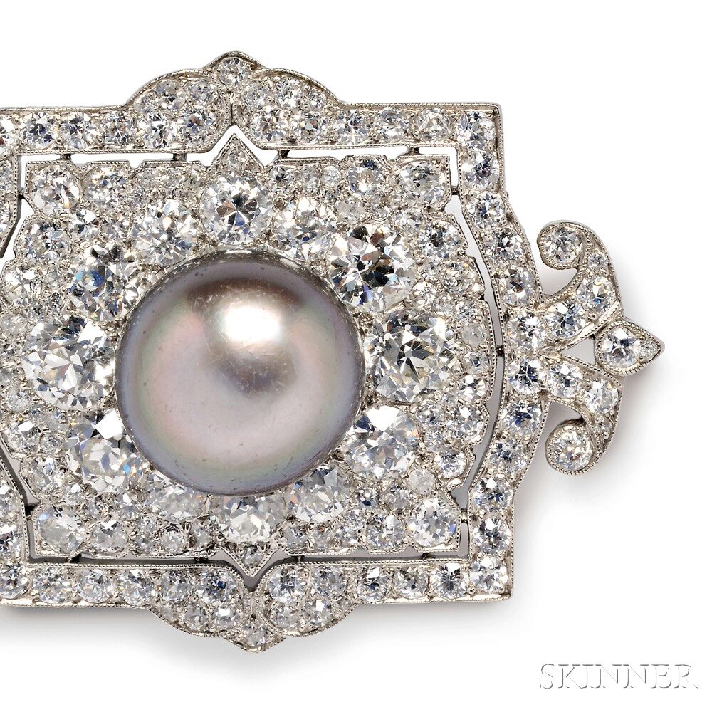 Edwardian Platinum, Pearl, and Diamond Plaque Brooch, Cartier