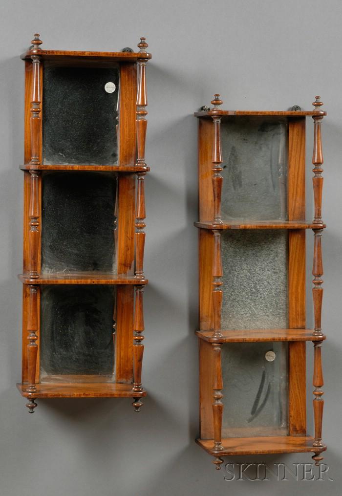 Pair of Sheraton-style Mahogany Four Tier Hanging Shelves