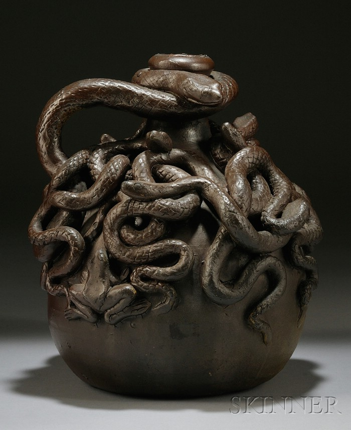 Sold for: $43,845 - Anna Pottery Stoneware Centennial Snake Jug
