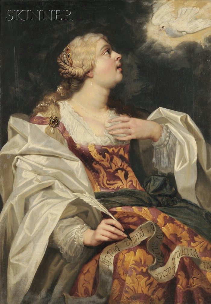 Flemish School, 16th Century Style      Elegant Female Saint with Quill and Dove