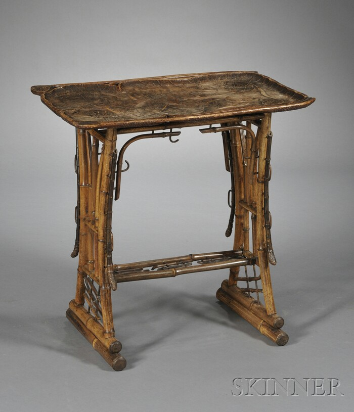 Art Nouveau Carved Hardwood and Bamboo Table