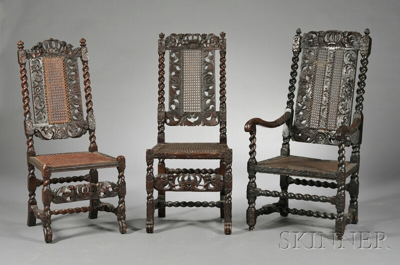 Three Charles II-style Carved Chairs
