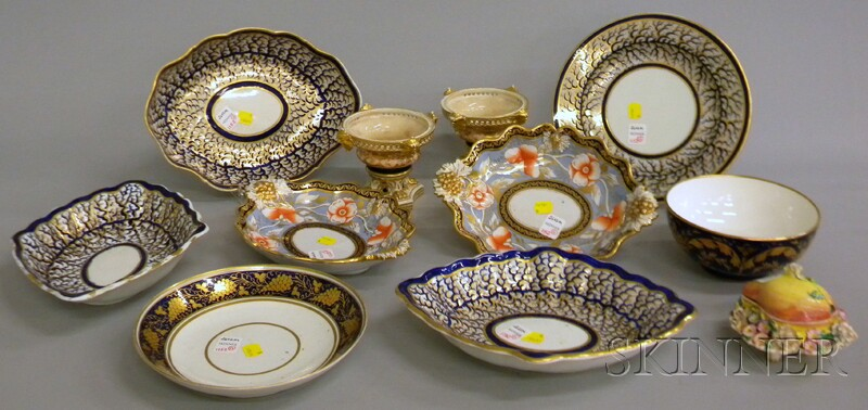 Eleven Pieces of Assorted English Gilt, Cobalt, and Hand-painted Porcelain   Tableware