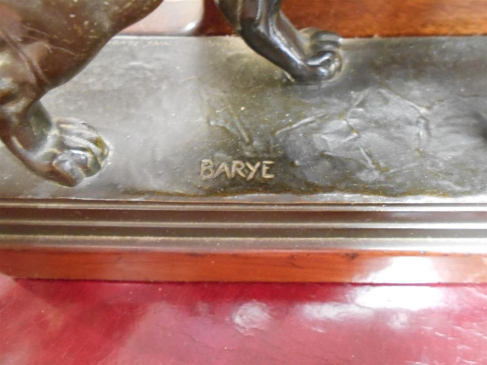 After Antoine-Louis Barye (French, 1795-1875)       Bronze Bookends