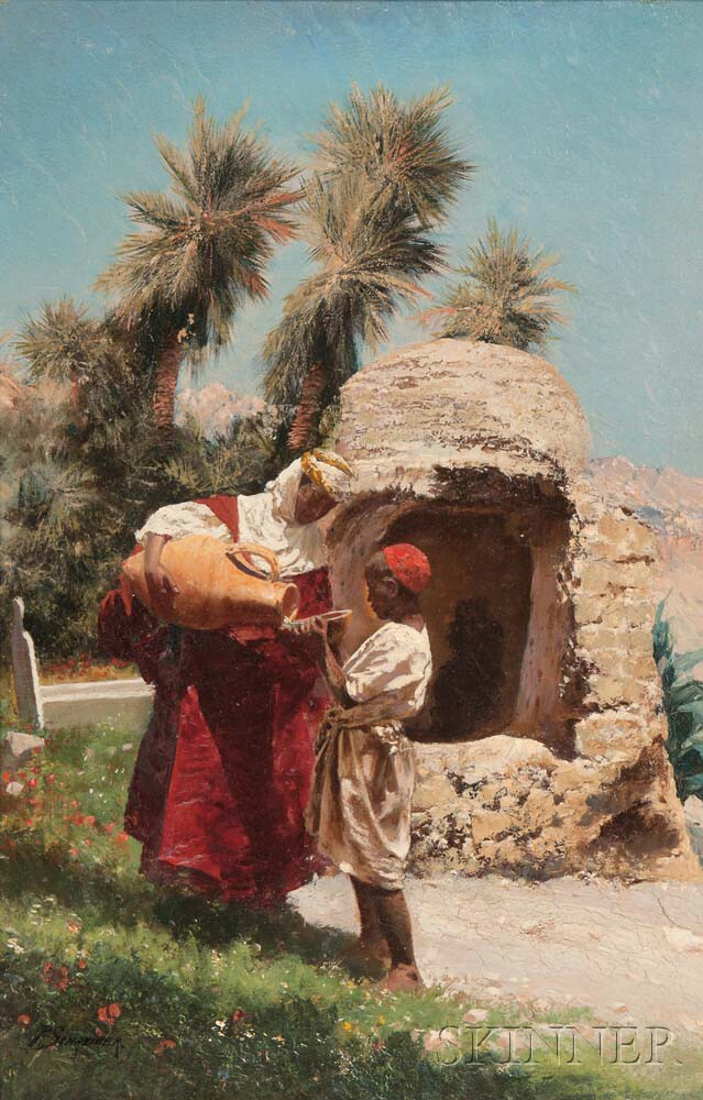 Peter Conrad Schreiber (German, 1816-1894)      Pouring Water at an Oasis