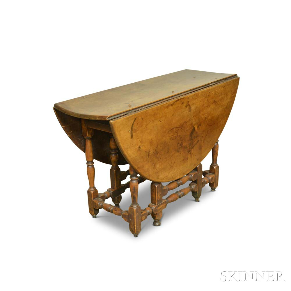 William and Mary Stained Maple Gate-leg Drop-leaf Table