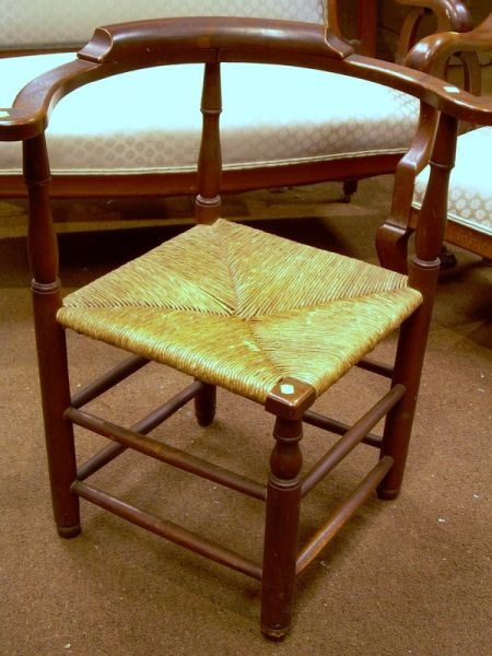Maple Roundabout Chair with Woven Rush Seat.