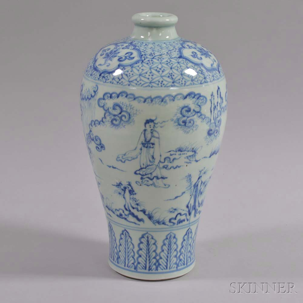 Blue and White Porcelain Meiping   Vase