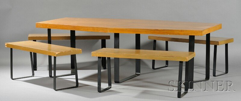 Mid-century Modern Custom Wood Veneer and Metal Dining Table and Four Benches