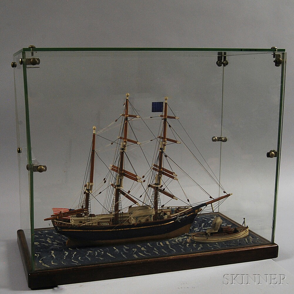 Cased Carved and Painted Ship's Model of the India