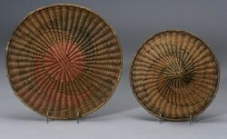 Two Southwest Polychrome Wicker Plaques