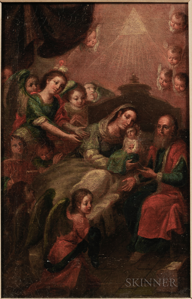 Central European School (Possibly Austria), 17th Century    Holy Family Enthroned with Angels