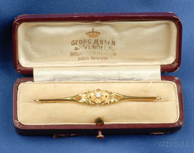 18-1/2kt Gold and Diamond Bar Pin, Georg Jensen