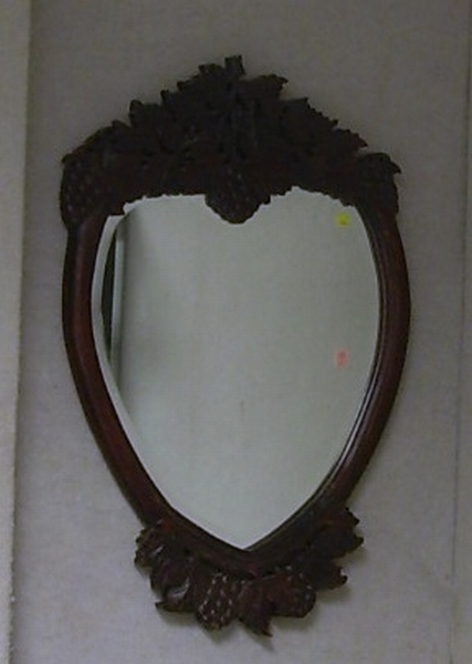 Victorian Grape Carved Hardwood Mirror.